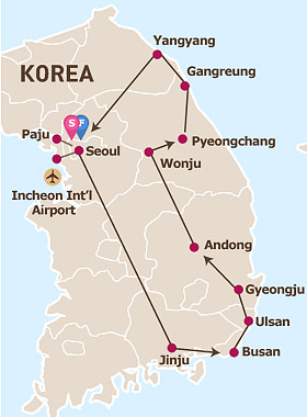 9 Days Eastern Korea Cultural Tour Map