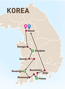 6 Days West Korea Tour Map